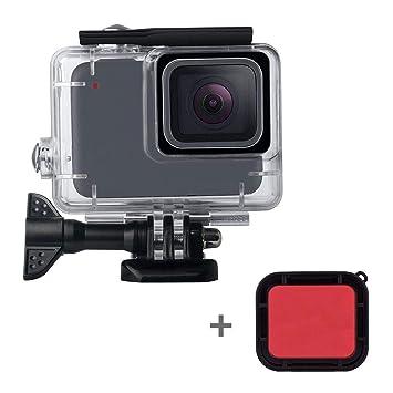 leegoal Carcasa Impermeable para GoPro Hero 7 Blanco/Plata, 148Ft Buceo Funda Protectora con Filtro Rojo y Accesorios de Soporte para Go Pro Hero 7 ...