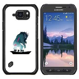 Caucho caso de Shell duro de la cubierta de accesorios de protección BY RAYDREAMMM - Samsung Galaxy S6Active Active G890A - Monstruo de cuernos