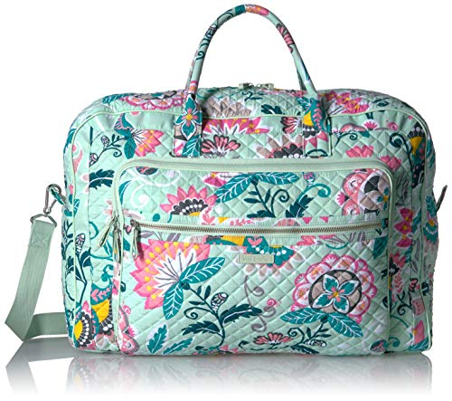 Vera Bradley Iconic Grand Weekender Travel Bag, Signature Cotton, Mint Flowers