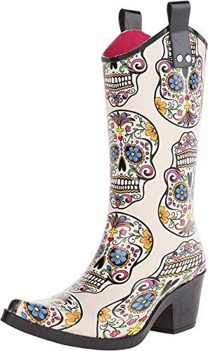 Blazin Roxx Women's Sugar Skull Cowgirl Rain Boot Snip Toe Multi 9 US
