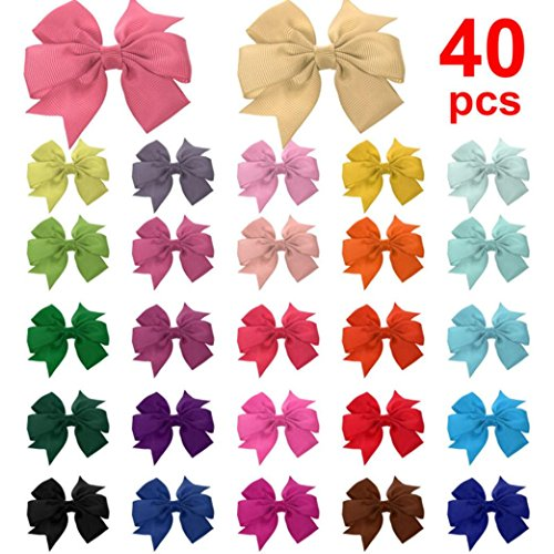 (Botrong 40 Handmade Bow Hair Clip Girls Ribbon Alligator Clips Girls Sides Accessories (Random Color))