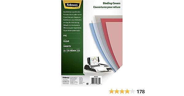 formato A4 paso 5:1 8 mm Fellowes Portadas para encuadernar de PVC transparente 240 micras ESP008-100 espirales met/álicas para encuadernar color negro pack de 100 59 agujeros