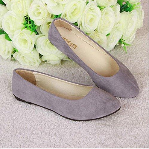 casual LvYuan gray scarpe pelle donna amp; mocassini scarpe da pigro da comodità camminate amp; ufficio tacco CN35 scamosciata ginnastica moda Scarpe casual piatto carriera BqFOrwHB