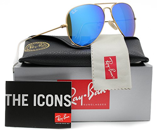 Ray-Ban RB3025 Aviator Sunglasses Matte Gold w/Blue Mirror (112/17) 3025 11217 58mm - Ray Blue Rb3025 Mirror Ban