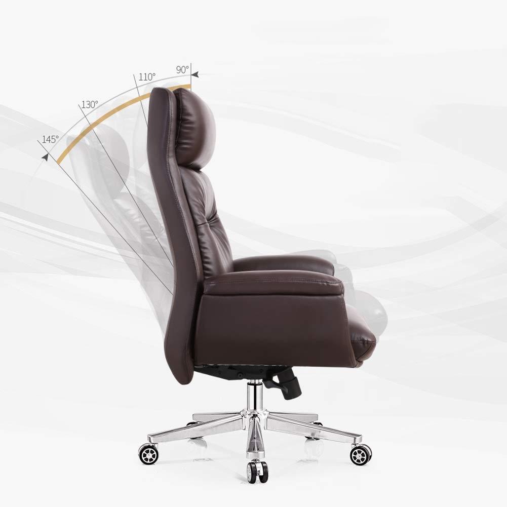 XZYZ stol hög rygg, säte svängbar justerbar höjd kontor uppgift hem dator spel ergonomisk rygg konstlädersäte (färg: Brun) Brun
