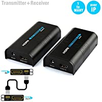 HDMI Extender Over TCP/IP Cat5/5e/6/6e Rj45 UTP/STP Ethernet Lan Switch Network Support 120m(400ft) 1080P By With Transmitter And Receiver (373 a pair)