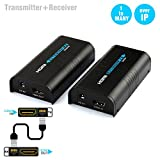 Links HDMI Extender Transmitter and Receiver Over Single Cat5e/6/7 Ethernet Cable,Up to 395ft (120m),Full Hd 1080P Support Switch Network TCP/IP UTP STP