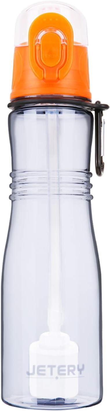 JETERY Botella de agua deportiva con filtro, Botella portátil de 680 ml que elimina el cloro y los olores del agua corriente del grifo, para su uso al aire libre, colegio, gimnasio, viajes u oficina,