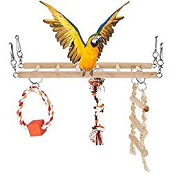 Yosoo Parrot Swing Ladder Toy, Birds Climbing Perch Wooden Accessories Bird Cage Stand Plaything Rudder Bar Supplies Stress Relief