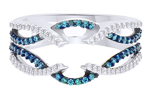 Blue & White Cubic Zirconia Guard Wrap Enhancer Ring In 14K White Gold Over Sterling Silver (0.5 Ct) by AFFY
