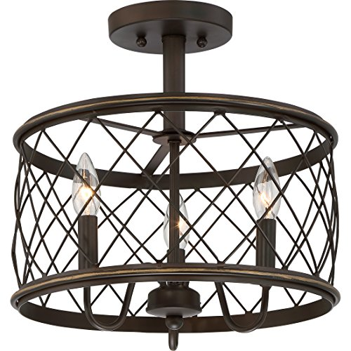 Quoizel RDY1714PN Dury Cage Semi-Flush Ceiling Lighting,3-Light, 180 Watts, Palladian Bronze (15