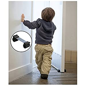 Door Stopper - Revolutionary New Design Stops Movement Forward and Backward - Ideal for Pet and Child Safety - Interior and Exterior Doors - 2 Door Stops Per Pack - BLACK