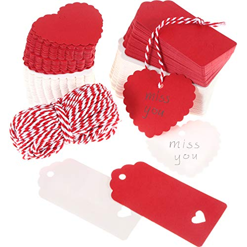 Tatuo 240 Pieces Heart Gift Tags Paper Heart Craft Tags Hanging Decoration Tag with 98.4 Feet Twines for Valentine's Day Wedding Birthday DIY Crafts ()