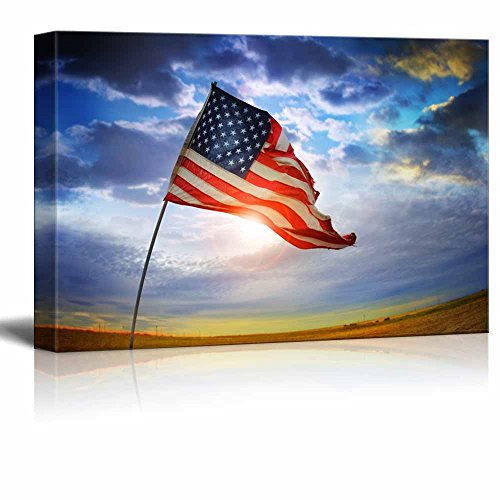 """Canvas Prints Wall Art - Tattered American Flag Blowing in the Wind Against a Beautiful Cloudscape Patriotic Concept 