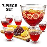 Glass Punch Bowl Set - 7 Piece Kit - Extra Large 2 Gallon Footed Bowl with Six 10.14oz Cups - Perfect Centerpiece for Party Buffets, Events, Receptions and Dinner Parties - Lux 'n Lavish