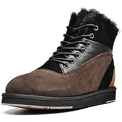 AUMU Men&Women Leather Stitching Shearling Winter Boots