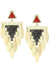 RAIN Red and Black Triangle Tassel Earrings