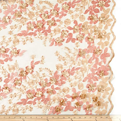 Ben Textiles 3D Multi Flower Embroidery Mesh Fabric, Peach/Blush, Fabric By The Yard