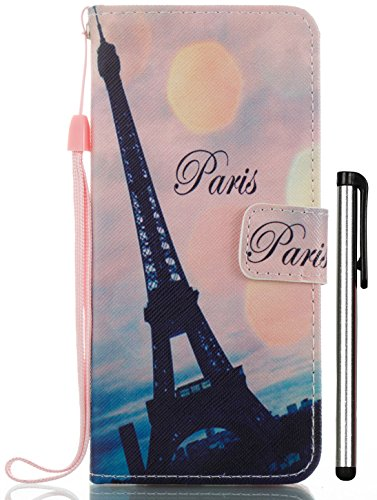 Galaxy S8 Case PU Leather Color Print with Wallet Function Stand Short Lanyard Credit Card Holder Magnetic Snap Front and Back Folio Cover black Paris Eiffel Tower (Short Paris)