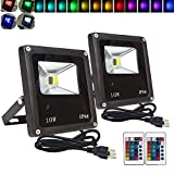 2 Pack, RGBW Flood Lights 16Colos Changing Security Light,Outdoor LED Lights,16 Colors & 4 Modes with Remote Control, IP65 Waterproof Floodlight, US 3-Plug, Wall Washer Light/Garden/Landscape