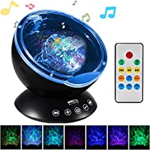 GRDE Remote Control Ocean Wave Projector 12 LED Night Light with 7 Color Changing Modes and Built-in Mini Music Player for Living Room Kids Bedroom