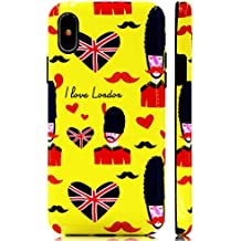 GoldSwift Cute Cartoon Flexible Soft Rubber Gel Case for iPhone Xs and iPhone X (British Royal Guard Saying I Love London)