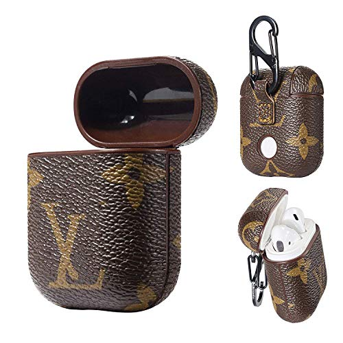 Fit for AirPods Wireless Headphone Cases,New Luxury Leather Fashion GG Monogram Style Full Protective Shockproof Cover with Carabiner for Apple AirPods Charging Case (brownlv)
