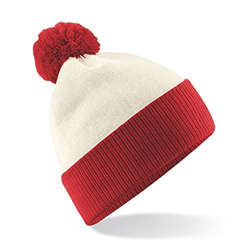 Beechfield Snowstar Duo Two-Tone Winter Beanie Hat (One Size) (Off White/Bright Red)