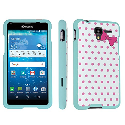 Kyocera Hydro View Case, DuroCase Hard Case Mint for Kyocera Hydro View C6742 Cricket (Released in 2016) - (Polka Dots Bow Pink) (Acc Bow Green)
