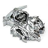 (US) B2 3D CUSTOM CHROME REAPER Skull EMBLEM BADGE STICKER DECAL3M Sticker Skull STICKER
