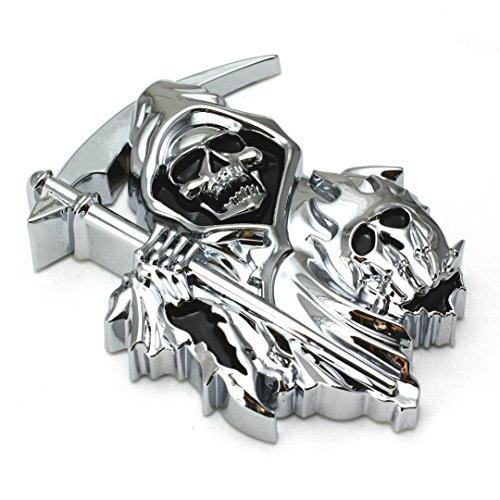 B2 3D CUSTOM CHROME REAPER Skull EMBLEM BADGE STICKER DECAL3M Sticker Skull STICKER