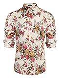 Best COOFANDY White Dress Shirts - COOFANDY Men's Floral Dress Shirt Long Sleeve 70s Review