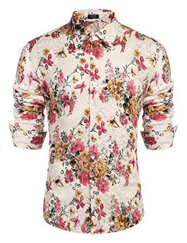 - COOFANDY Men's Floral Dress Shirt Long Sleeve 70s Printed Casual Button Down Shirts White