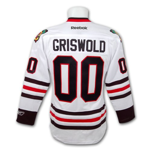 cheap for discount 00594 dfa36 Clark Griswold Christmas Vacation Blackhawks Premier Replica White Hockey  Jersey