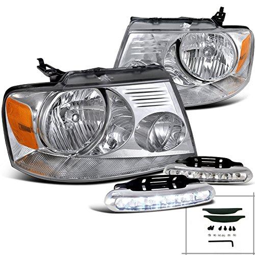 Ford F150 XL XLT STX Crystal HeadlightsLED Bumper Fog Lamps Chrome