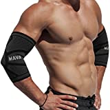 Mava Sports Knitted Elbow Sleeves Recovery Compression (Pair) – Support for Workouts, Weightlifting, Arthritis, Tendonitis, Tennis and Golfer's Elbow – Athletic Elbow Sleeve (Black, Large)