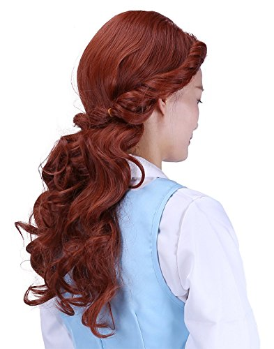 HDE Womens Adult Belle of The Ball Princess Wig Prestyled with Curl and Braid Brown -