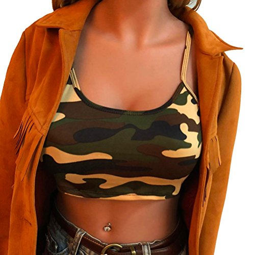 - Womens Camisole,Cute Strap Camouflage Blouse Bustier Bra Ladies Crop Top Axchongery (Green, M)