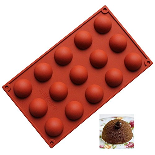 1PCS 15 Holes Cavity Couple Silicone Mold for Chocolate, Pastry, Cupcake, Desserts – Semi Sphere Hot Chocolate Bomb…