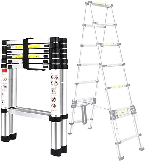 BAIVIT Escalera telescópica de Espiga de aleación de Aluminio portátil Desmontable en 2 escaleras Escalera de Aluminio Plegable para el hogar,1.4m: Amazon.es: Deportes y aire libre
