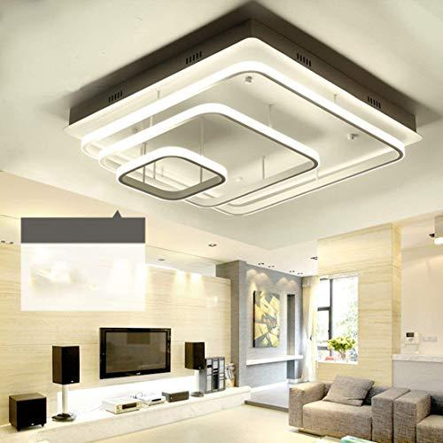 (BOSSLV Creative Simple Metal Acrylic Chandelier Ceiling Light Modern Three Rectangular Design Ceiling Light Indoor Lighting Fixture Suitable for Parlor Bedchamber Remote Control)
