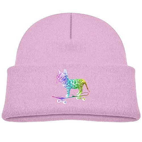 - Beanie Hats Knit Cap Wool Rainbow Skateboard Cat Baby Soft Boy Girl