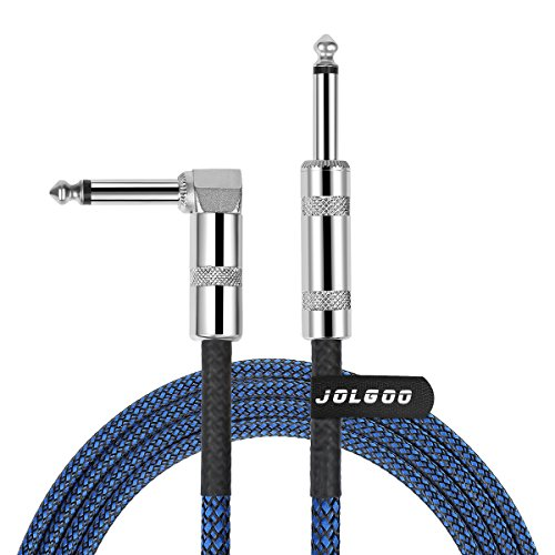 1/4 Inch Cable Guitar Cable 10 Ft Straight to Right Angle 1/4 Inch 6.35mm Plug Bass Keyboard Instrument Cable Blue and Black Tweed Cloth Jacket, Electric Mandolin, pro Audio JOLGOO ()