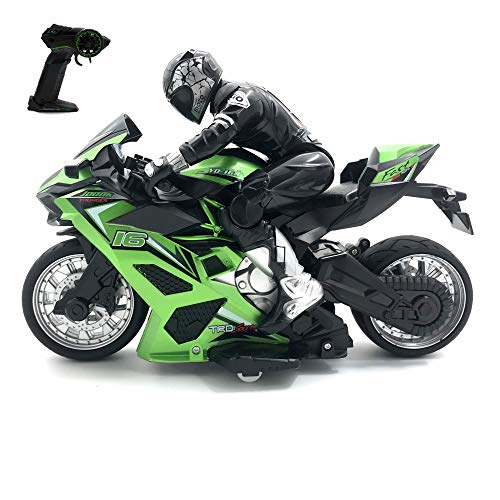 pop mart Remote Control Motorcycle Toy Stunt Performing Car Toys Rechargeable Green RC Motor Bike Safe & Durable Birthday Xmas Gift for Kids Boys Girls