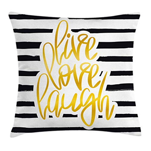 """Ambesonne Live Laugh Love Throw Pillow Cushion Cover, Romantic Design with Hand Drawn Stripes and Calligraphic Text, Decorative Square Accent Pillow Case, 18"""" X 18"""", White Yellow"""