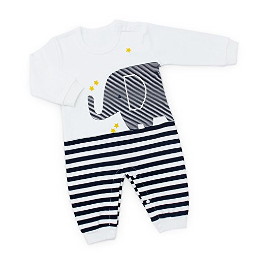Yaffi Baby Outfit Full Sleeve Striped Elephant Jumpsuit Romper for Newborn Infant (0-3 Months, White)