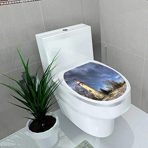 Toilet Seat Sticker The toric Marblehead Lighthouse in Northwest Ohio Sits Waterproof Decorative Toilet Cover Stickers W8 x ()