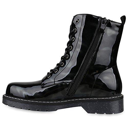 Stiefelparadies Damen Stiefeletten Profilsohle Worker Boots Stiefel Leicht Gefüttert Flandell Schwarz Lack Carlet