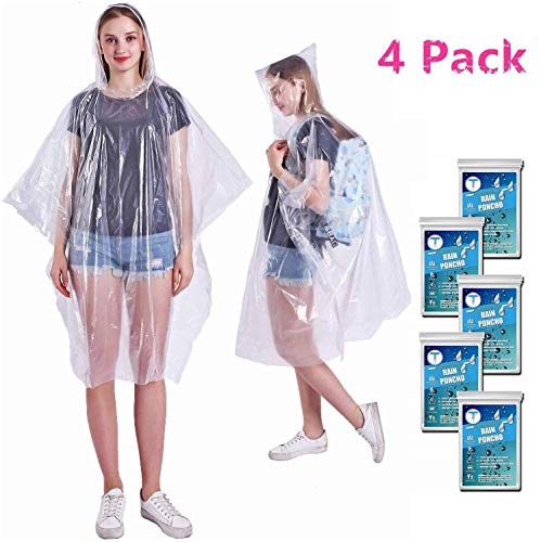 Emergency Waterproof Disposable Rain Ponchos - 60% Extra Thicker Clear 4 Pack - Lightweight Universal Design For Adults, Men & Women - Poncho Includes Hoods With Drawstrings - for Concerts, Camping