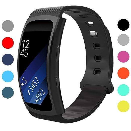 StrapsCo - Correa de repuesto deportiva de silicona para reloj de pulsera Samsung Gear Fit 2 SM R360, tamaño pequeño/grande: Amazon.es: Relojes
